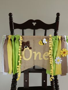 Bear and bee banner for high chair with colorful fabric garland with flowers makes cute bear decorations for baby bee themed birthday party First Birthday Parties, Birthday Party Themes, First Birthdays, Burlap Flag, Chairs For Rent, Bear Decor, Fabric Garland, Round Chair, Bee Theme
