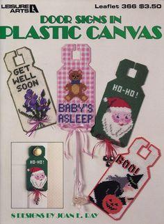 Door Signs in Plastic Canvas, Leisure Arts Pattern Booklet 366 Halloween Get Well Soon Christmas & More