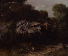 Rocky Landscape with Figure - Gustave Courbet