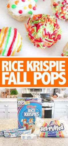 Rice Krispies FALL decorated pops! So much easier than cake pops, and super yummy!!!