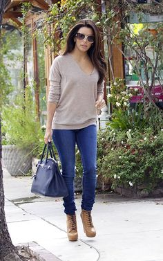 Eva Longoria wearing Hermes 35cm Birkin Bag in Abysse Blue Zadig & Voltaire Celsa New Bis C sweater