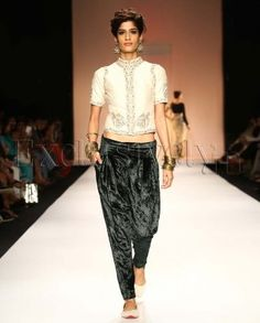 #Exclusivelyin, #IndianEthnicWear, #IndianWear, #Fashion, Mahal Ecru Choli With Green Velvet Harem Pants
