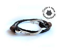 Bracciale UNCINO AMO nautico cuoio braccialetto uomo marinaio Hook SILVER corda rosso, by Mosquitonero Shop, 7,90 € su misshobby.com