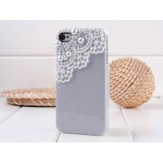 Dexule Light Purple Fashion Sweety Girls Hand Made Lace and Pearl Hard Case Cover for iPhone 4 4S with Screen Protector