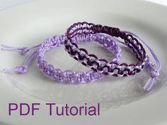 PDF Tutorial Alternating Square Knot Macrame Bracelet Pattern, Single & Two Color Adjustable Friendship Slider Bracelet by Purple Wyvern Jewels