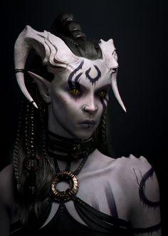 Darksorceress by Alberto Casu Fantasy Demon, Fantasy Races, Fantasy Warrior, Dark Fantasy Art, Fantasy World, Dark Art, Fantasy Character Design, Character Inspiration, Character Art