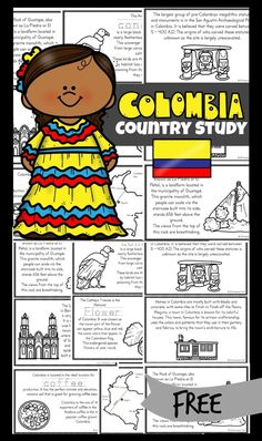 FREE Colombia for Kids Reader - learn about Colombia - a beautiful South American country known for beautiful mountains, tropical rainforests beaches, coffee and so much more! Simply download and print one of these free printable mini books filled with information, cute clipart, and facts to make learning aboutColumbia for Kids fun. Great resources for teaching about geography or countries around the world to kindergarten, first grade, 2nd grade, 3rd grade, 4th grade, 5th grade, and 6th… Worksheets For Kids, Activities For Kids, Teaching Kids, Kids Learning, Geography For Kids, Geography Lessons, Mexico For Kids, Italy For Kids, Hispanic Heritage Month