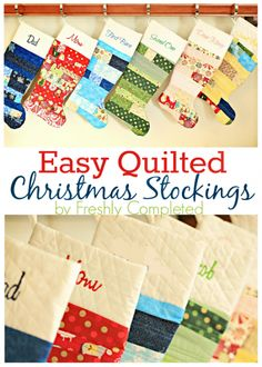 Easy Quilted Christmas Stocking Pattern by Freshly Completed christmas stocking 27 FREE DIY Homemade Christmas Stockings Patterns and Tutorials Quilted Christmas Stockings, Christmas Stocking Pattern, Xmas Stockings, Christmas Sewing, Christmas Projects, Holiday Crafts, Christmas Crafts, Christmas Decorations, Christmas Quilting