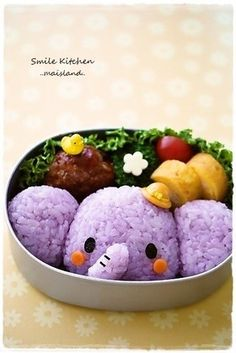Elephant bento, i would'nt even care if it ended up tasting good, it's so adorable!!! Japanese Food Art, Japanese Lunch Box, Kawaii Bento, Bento Box Lunch, Cute Bento Boxes, Bento Recipes, Food Humor, Purple Elephant, Kids Meals