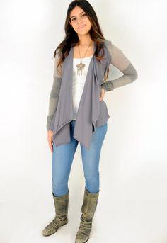 Paper People Clothing - The Rosemary Cardigan - Upcycled - Reclaimed Vintage - Organic Cotton - Grey - Eco Fashion - Draped - Patchwork - Boho