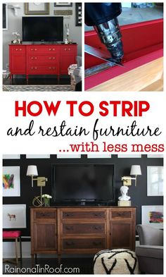 I have SO been putting off stripping a table I have, but not anymore!! How to Strip Furniture and Restain It