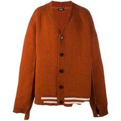 Raf Simons oversized V-neck cardigan (€1.835) ❤ liked on Polyvore featuring men's fashion, men's clothing, men's sweaters, mens cardigan sweaters, mens vneck sweater, men's v neck sweater and mens v neck cardigan sweater