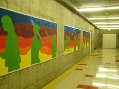 school mural on old bulletin boards acrylic and sand