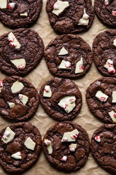 The Best Way to Bake with Peppermint Bark Peppermint Brownies, Peppermint Cookies, Chocolate Crinkle Cookies, Chocolate Crinkles, Christmas Pudding, Christmas Baking, Christmas Sweets, Christmas Holiday, Christmas Cookies