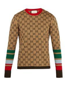 Gucci Monogram-intarsia Striped Wool Sweater In 2606 Camel Mens Striped Sweater, Men Sweater, Gucci Fashion, Mens Fashion, Gucci Men, Gucci Gucci, Sweater Making, Sweater Design, Well Dressed Men