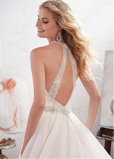 Charming Tulle & Satin Halter Neckline A-Line Wedding Dresses With Embroidery & Beadings