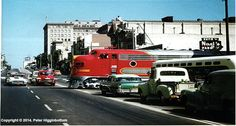 "Santa Fe's ""Super Chief"" rolls through Pasadena, CA in August 1958. Photo by Peter Higginbottom."