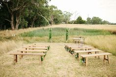 Bench Ceremony Inspiration -- can be used throughout backyard after ceremony.