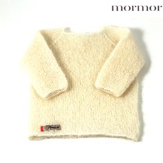mormor.nu Blouse Mohair white petrol. High quality knitwear for children. Danish design made in Denmark #babyclothing #kidsclothing #warmclothes #softknit #mohair