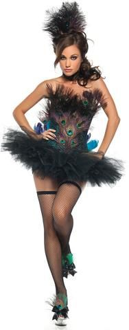 Sexy Peacock Adult Costume Includes corset, skirt, tail, choker, and headpiece. Does not include stockings or shoes. Weight (lbs) 1.15 Length (inches) 19 Width (inches) 15 Height(inches) 5