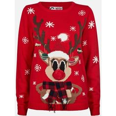 FUNNY CHRISTMAS SWEATER ❤ liked on Polyvore featuring tops, sweaters, red top, christmas sweaters, red sweater, red christmas sweater and xmas sweaters