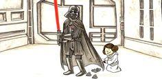 Vader's Little Princess Star Wars Mädchen, Star Wars Girls, Star Wars Humor, Star Wars Cartoon, Star Wars Comics, Star Wars Karikatur, Darth Vader And Son, Princess Videos, Daddys Little Princess
