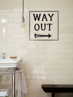 Pie, let's make some if these fir your new house. Fired Earth Signage Tiles 'Way Out'