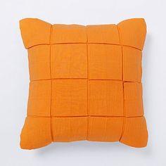 Solid Square Tuck Pillow - Mandarin #westelm