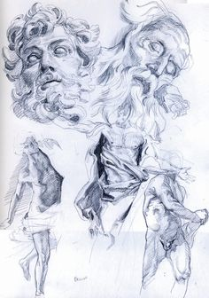 Bernini, sketch for sculpture