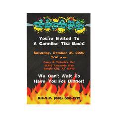 Cannibal Tiki Bash Headhunter Style Party - Personalized Invite by floppypoppygifts