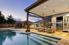 Backyard entertainment pavillion & pool