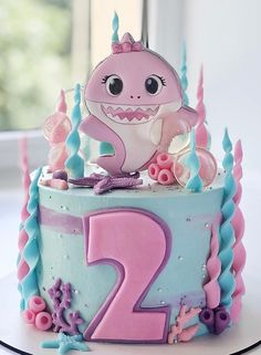 Birthday Party Themes, 2nd Birthday, Shark Cookies, Shark Cake, Baby Shark, Cake Ideas, Ideas Para, Shower Ideas, Fondant