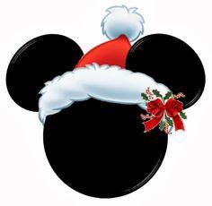 Cabezas de Mickey con sombrero de Santa rojo.