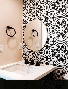 Powder bathroom, cement tiles, oil rubbed bronze hardware