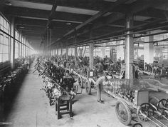 Wolseley factory, Birmingham, c1921. 6 cl chassis on the production line at Adderley Park.