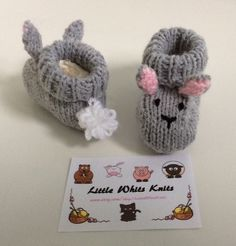 Pin by joya on patterns tutorials pinterest bunny hat baby rabbit knitted baby booties handmade gift girl by littlewhitsknits negle Gallery
