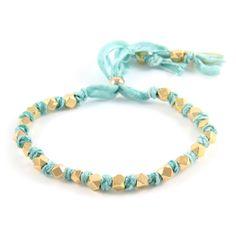 Adjustable Gold Beaded Turquoise Vintage Ribbon Bracelet