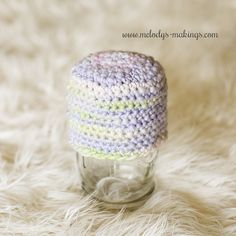 """Basic Thick and Thin Beanie Crochet  all sizes thru adult.  downloaded.  """"If you don't have thick and thin in your stash, you can also substitute bulky or super bulky yarn."""""""