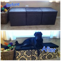 "Cheap target ""back to college"" ottomans + clearance upholstery fabric + staple gun = new window seat dog bed for Libby (with storage)! 