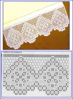 Crochet Patterns Lace Scheme crochet no. Filet Crochet Charts, Crochet Borders, Crochet Diagram, Crochet Motif, Crochet Doilies, Crochet Patterns, Crochet Diy, Crochet Cross, Thread Crochet