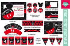 Free Mickey Mouse Inspired Printable Theme - get it liking our Facebook Page and inboxing us your request.