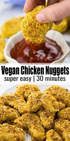 Vegan Chicken Nuggets – Super easy recipe for vegan chicken nuggets. Unlike real chicken nuggets, they are – # Vegan Chicken Nuggets – Super easy recipe for vegan chicken nuggets. Unlike real chicken nuggets, they are – # Healthy Chicken Recipes, Vegan Recipes Easy, Vegetarian Recipes, Vegan Vegetarian, Easy Vegan Food, Vegetarian Chicken Nuggets, Pasta Recipes, Crockpot Recipes, Soup Recipes