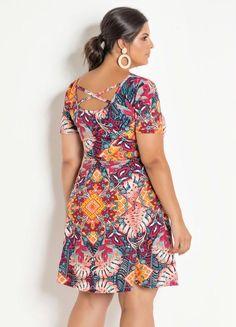 Vestido Evasê Marguerite Mix Floral Plus Size - Marguerite Short Sleeve Dresses, Dresses With Sleeves, Vestido Casual, Floral, Look, Plus Size, 1, Fashion, Flowergirl Dress