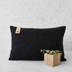 Graphite Leather Detail Cushion