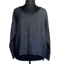 FLAX Designs Harmony Whisperer Tunic Black Tweed Linen L NWOT #FLAX #Tunic #Casual