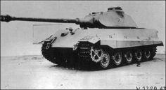 One of the very first 47 production serie`s Tiger II - completed by Henschel , with a turret designed by Krupp - for the Porsche VK 45.02 / P . The turret`s were modified for Tiger II production serie`s , by replacing the 25 mm thick roof plate`s - with 40 mm thick roof plate`s