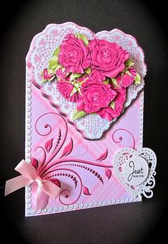 Pink Roses Lace Heart Shaped Card Kit on Craftsuprint designed by Robyn Cockburn - made by Cynthia Massey - http://www.craftsuprint.com/card-making/mini-kits/mini-kits-floral/?&designer=123&r=796943