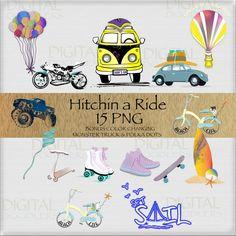 Hitchin A Ride Clip Art  VW Bus Monster Trucks by DigitalDoodlers