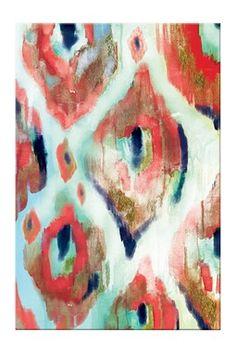 Evil Eye Ikat Canvas Art