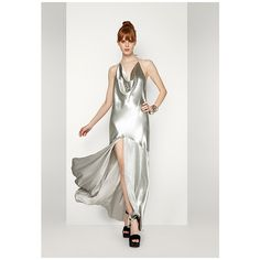 Silver The Hydra Dress (£200) ❤ liked on Polyvore featuring dresses, gowns, silver, white evening dresses, formal dresses, white dress, white formal gowns and formal evening dresses